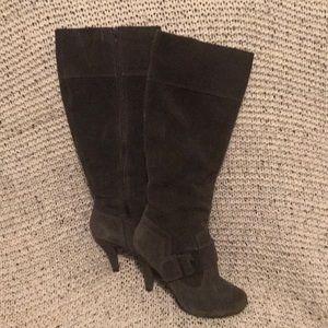 Suede grey knee high boots